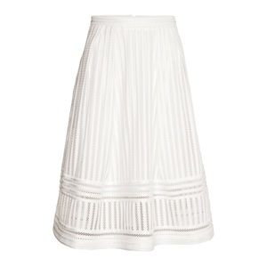 NWT H&M White Patterned Full Skirt